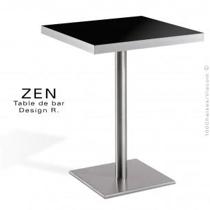 Table pour la restauration et l'hôtellerie ZEN piètement colonne centrale inox, plateau stratifié couleur noir