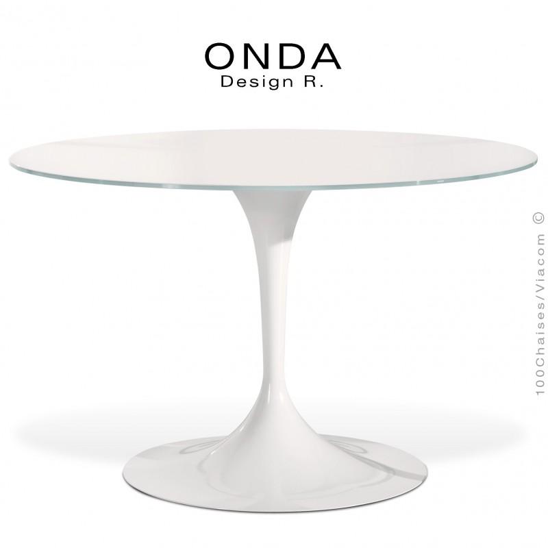 Table ronde plateau verre ONDA, piétement colonne centrale tulipe ou  trompette acier tourné peint.