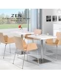 Table pour la restauration et l'hôtellerie ZEN piètement colonne centrale inox poli, plateau stratifié blanc chant blanc.