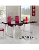 Table BABEL, finition peinture noir brillante, piètement acier chromé
