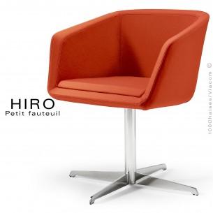 Fauteuil design confortable HIRO, pied colonne centrale acier chromé, assise garnie, habillage 100% laine, couleur rouille