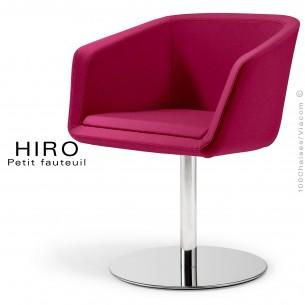 Fauteuil design confortable HIRO, pied colonne centrale acier chromé, assise garnie, habillage 100% laine, couleur violet