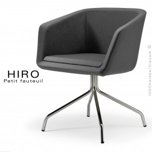 Fauteuil design confortable HIRO, pied 4 branches étoile chromé, assise garnie, habillage 100% laine, couleur anthracite