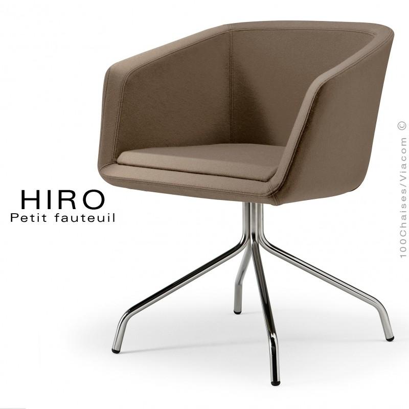 Fauteuil design confortable HIRO, pied 4 branches étoile chromé, assise garnie, habillage 100% laine, couleur taupe