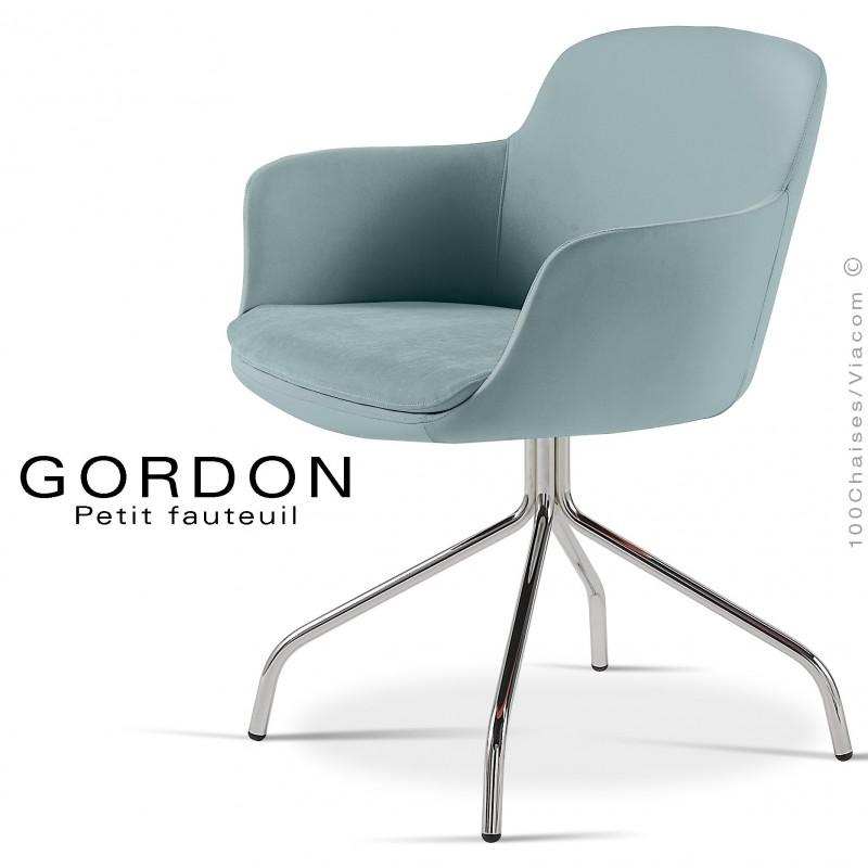 Fauteuil design tendance GORDON, pieds 4 branches acier chromé, assise garnie, habillage laine feutre, couleur bleu clair