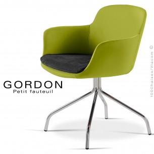 Fauteuil design tendance assise noir GORDON, pieds 4 branches acier chromé, assise garnie, habillage feutre, couleur vert