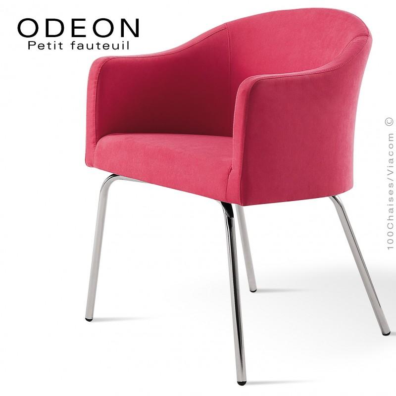 Fauteuil pour hôtellerie ODEON, pieds 4 branches acier chromé, assise garnie, habillage 100% laine type feutre couleur rose