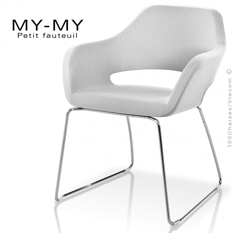 Fauteuil pour hôtellerie MY-MY, pieds luge acier chromé, assise garnie, habillage tissu synthétique blanc