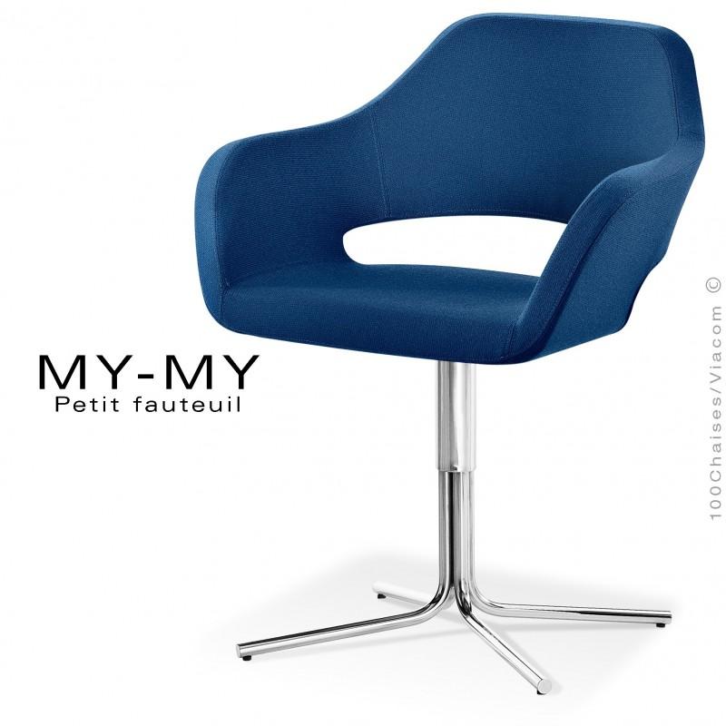 Fauteuil pour hôtellerie MY-MY, pied colonne centrale acier chromé, assise garnie, habillage tissu synthétique bleu marine