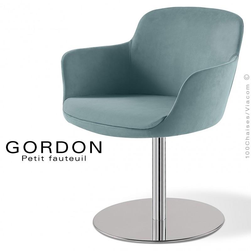 Fauteuil design tendance GORDON, pied colonne centrale acier chromé, assise garnie, habillage 100% laine type feutre bleu clair