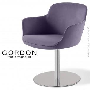 Fauteuil design tendance GORDON, pied colonne centrale acier chromé, assise garnie, habillage 100% laine type feutre violet