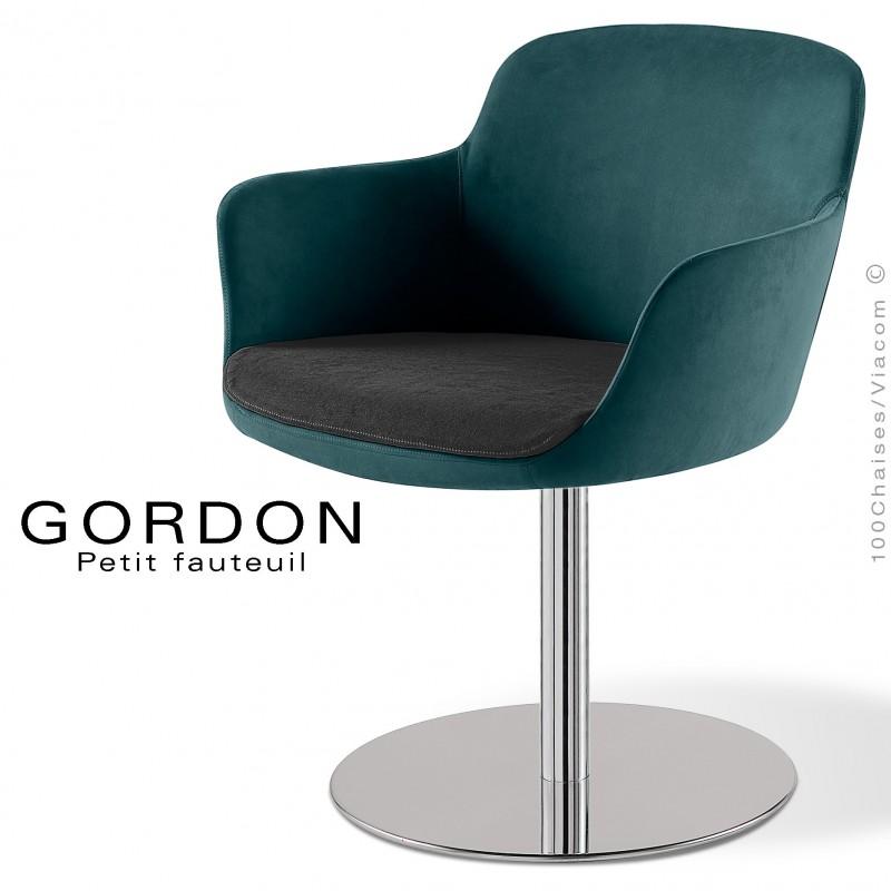 Fauteuil design tendance assise noir GORDON, pied colonne centrale acier chromé, assise garnie, habillage 100% laine pétrole