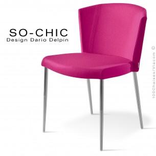 Chaise design tendance SO-CHIC, piètement 4 pieds acier chromé, assise garnie, habillage 100% laine type feutre rose