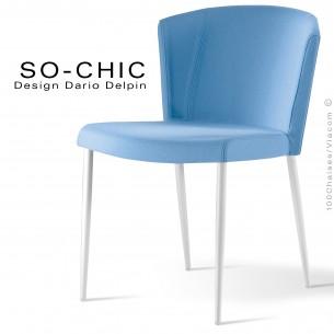 Chaise design tendance SO-CHIC, piètement 4 pieds acier peint blanc, assise garnie, habillage 100% laine type feutre bleu ciel