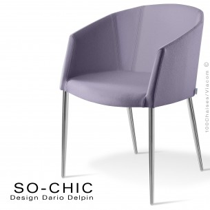 Fauteuil design tendance SO-CHIC, piètement 4 pieds acier chromé, assise garnie, habillage 100% laine type feutre lavande