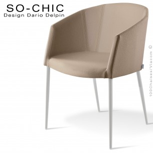 Fauteuil design tendance SO-CHIC, piètement 4 pieds acier peint blanc, assise garnie, habillage 100% laine feutre sable