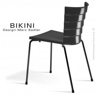 Chaise design pour terrasse BIKINI, piètement acier peint noir, assise plastique noir