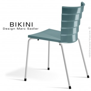 Chaise design pour terrasse BIKINI, piètement acier peint blanc, assise plastique gris