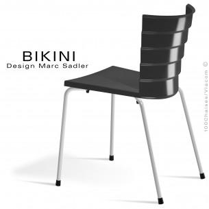 Chaise design pour terrasse BIKINI, piètement acier peint blanc, assise plastique noir