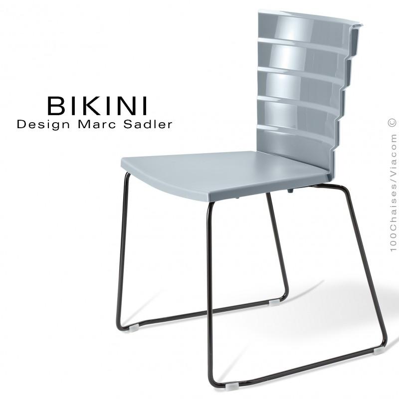 Chaise Design Pour Terrasse BIKINI Pietement Type Luge Acier Peint Noir Assise Plastique Gris