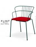 Fauteuil dossier en fil design pour terrasse et hôtellerie FLINT structure acier peint antharcite, assise plastique rouge