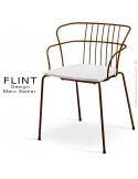 Fauteuil dossier en fil design pour terrasse et hôtellerie FLINT structure acier peint brun, assise plastique blanc