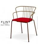Fauteuil dossier en fil design pour terrasse et hôtellerie FLINT structure acier peint brun, assise plastique rouge