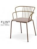 Fauteuil dossier en fil design pour terrasse et hôtellerie FLINT structure acier peint brun, assise gris tourterelle