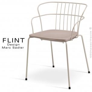 Fauteuil dossier en fil design pour terrasse et hôtellerie FLINT structure acier peint ivoire, assise gris tourterelle