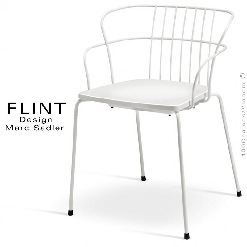 Fauteuil dossier en fil design pour terrasse et hôtellerie FLINT structure acier peint blanc, assise plastique blanche
