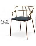 Fauteuil dossier en fil dacier pour terrasse et hôtellerie FLINT structure acier peint moka, assise plastique anthracite