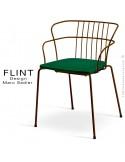 Fauteuil dossier en fil dacier pour terrasse et hôtellerie FLINT structure acier peint moka, assise plastique vert anglais