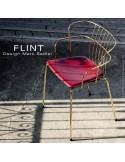 Fauteuil en fil d'acier design pour terrasse et hôtellerie FLINT structure et piètement laiton, assise cuir bordeaux