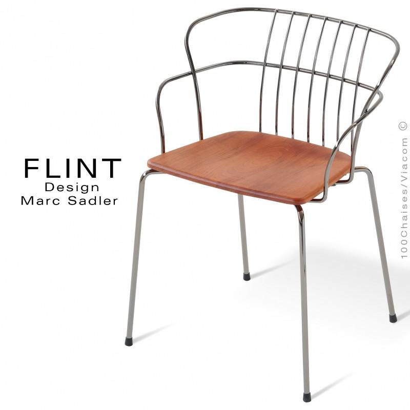 Fauteuil en fil d'acier design pour terrasse et hôtellerie FLINT structure chromé, assise bois Iroko
