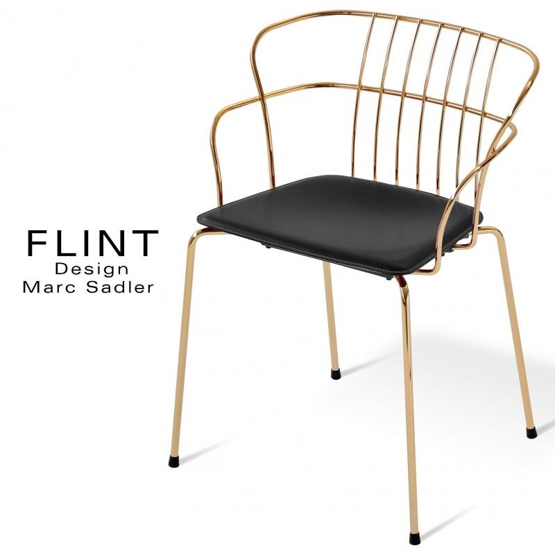 Fauteuil en fil d'acier design pour terrasse et hôtellerie FLINT structure et piètement laiton, assise cuir couleur noir