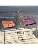 Fauteuil en fil d'acier design pour terrasse et hôtellerie FLINT structure et piètement laiton ou chromé, assise cuir ou bois