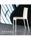 Chaise d'extérieur pour hôtel, restaurant, jardin NASSAU structure plastique, 4 pieds monobloc couleur blanche
