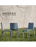 Chaise d'extérieur pour hôtel, restaurant, jardin NASSAU structure plastique, 4 pieds monobloc couleur gris