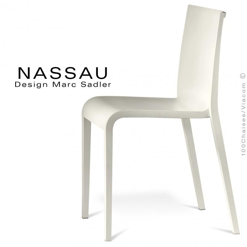 Chaise d'extérieur pour hôtel, restaurant, jardin NASSAU structure plastique, 4 pieds monobloc blanche