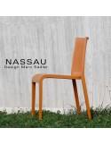 Chaise d'extérieur pour hôtel, restaurant, jardin NASSAU structure plastique, 4 pieds monobloc couleur brun terre de sienne