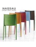 Chaise d'extérieur pour hôtel, restaurant, jardin NASSAU structure plastique, 4 pieds monobloc couleur au choix