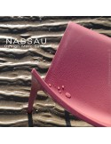 Chaise d'extérieur pour hôtel, restaurant, jardin NASSAU structure plastique, 4 pieds monobloc couleur rouge Marsala
