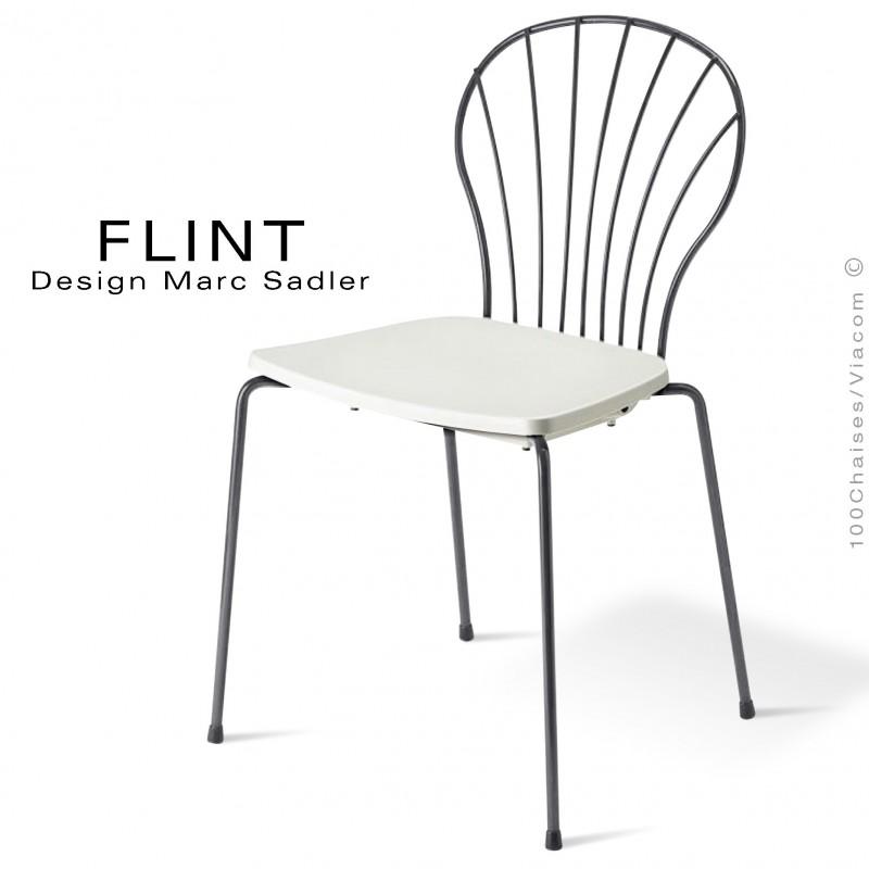 Chaise Dossier En Fil Dacier Design Pour Terrasse Et Hotellerie FLINT Structure Peint Antharcite