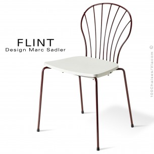 Chaise dossier en fil d'acier design pour terrasse et hôtellerie FLINT structure peint brun, assise plastique couleur blanche