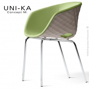 Fauteuil confort UNI-KA, coque effet matelassé couleur tourterelle, assise garnie, habillage cuir synthétique vert