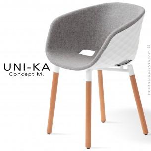 Fauteuil coque effet matelassé UNI-KA piétement 4 pieds bois, plastique blanc, assise garnie, couleur gris