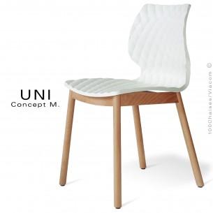 Chaise design coque effet matelassé UNI piétement 4 pieds bois arrondie naturel, assise couleur blanche