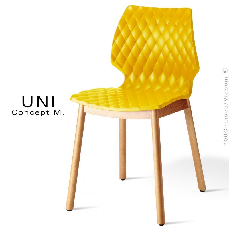 Chaise Design Coque Effet Matelasse UNI Pietement 4 Pieds Bois Arrondie Naturel Assise Couleur Jaune
