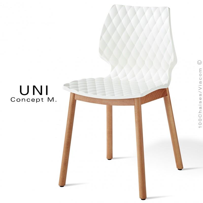 Chaise Design Coque Effet Matelasse UNI Pietement 4 Pieds Bois Arrondie Naturel Assise Couleur Blanche