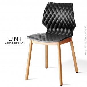 Chaise design coque effet matelassé UNI piétement 4 pieds bois arrondie naturel, assise couleur noir